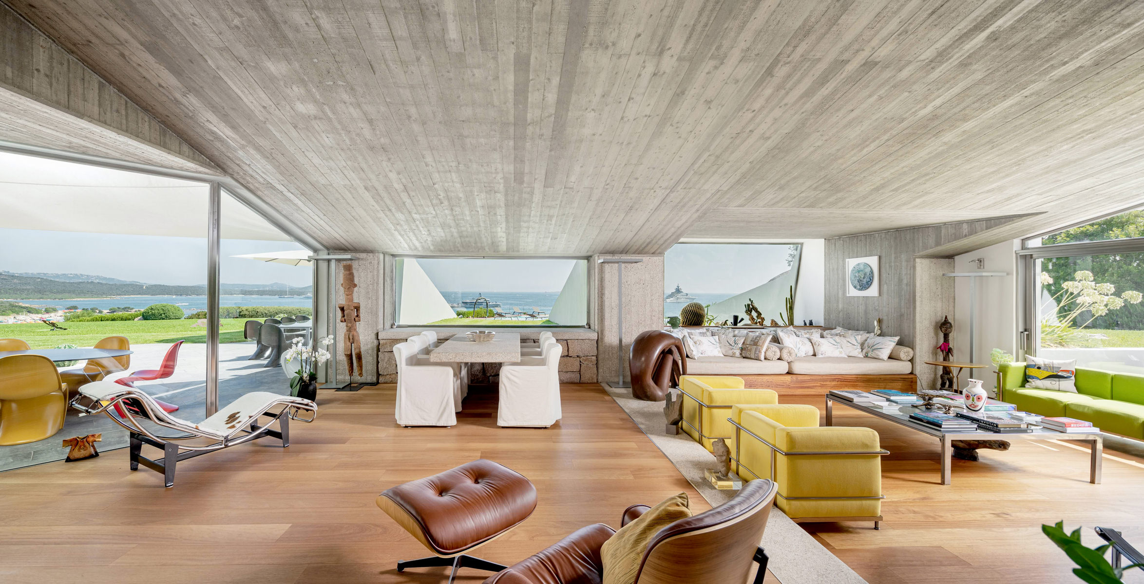 View of the living room of the Bulgari villa in Porto Cervo